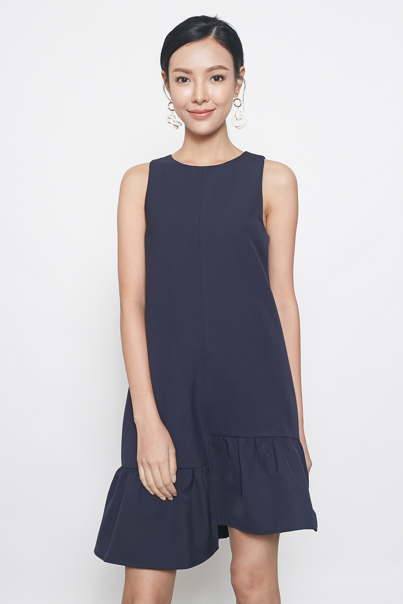 asymmetrical dropwaist tunic in navy