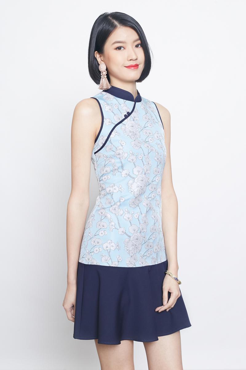 jacquard dropwaist cheongsam in blue