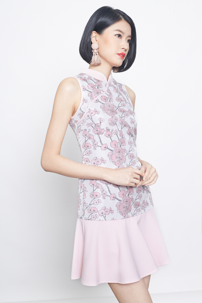 jacquard dropwaist cheongsam in pink