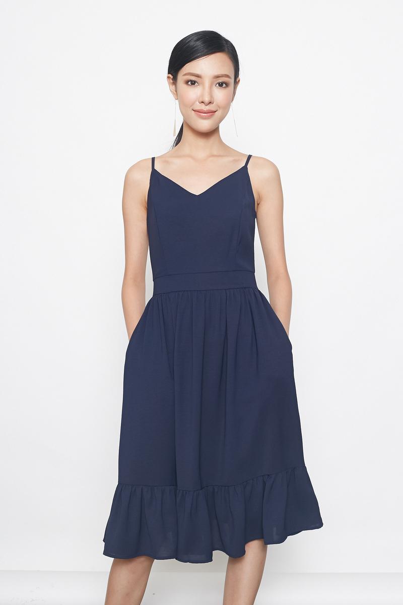 tiered hem midi dress in navy
