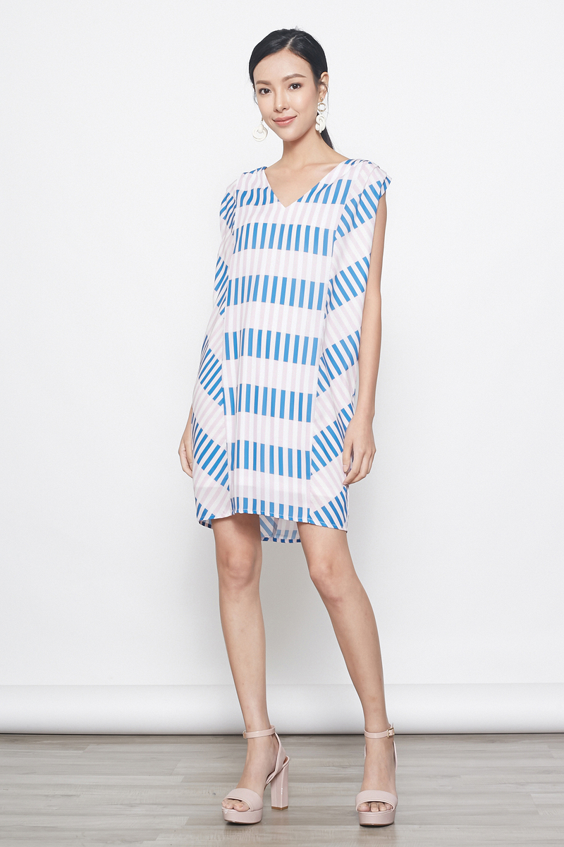stripes kaftan tunic in pink blue