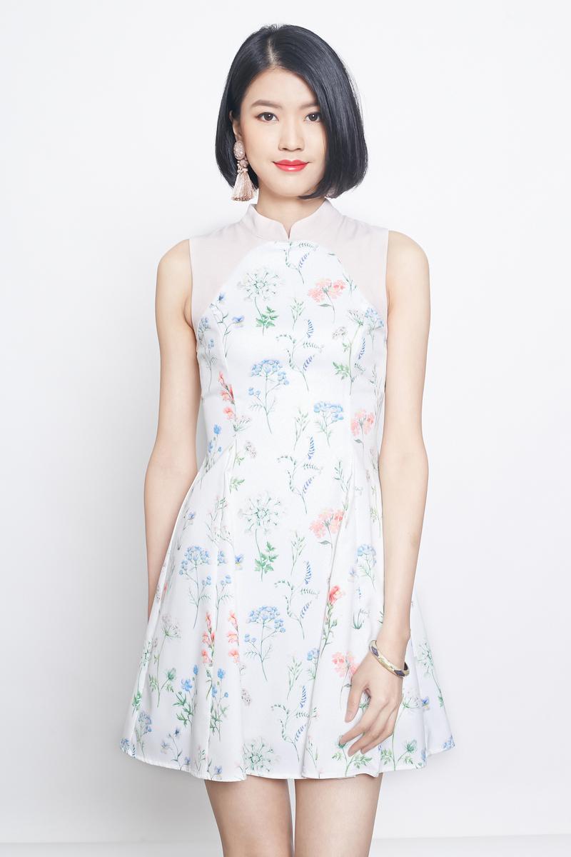 floral cheongsam dress in white
