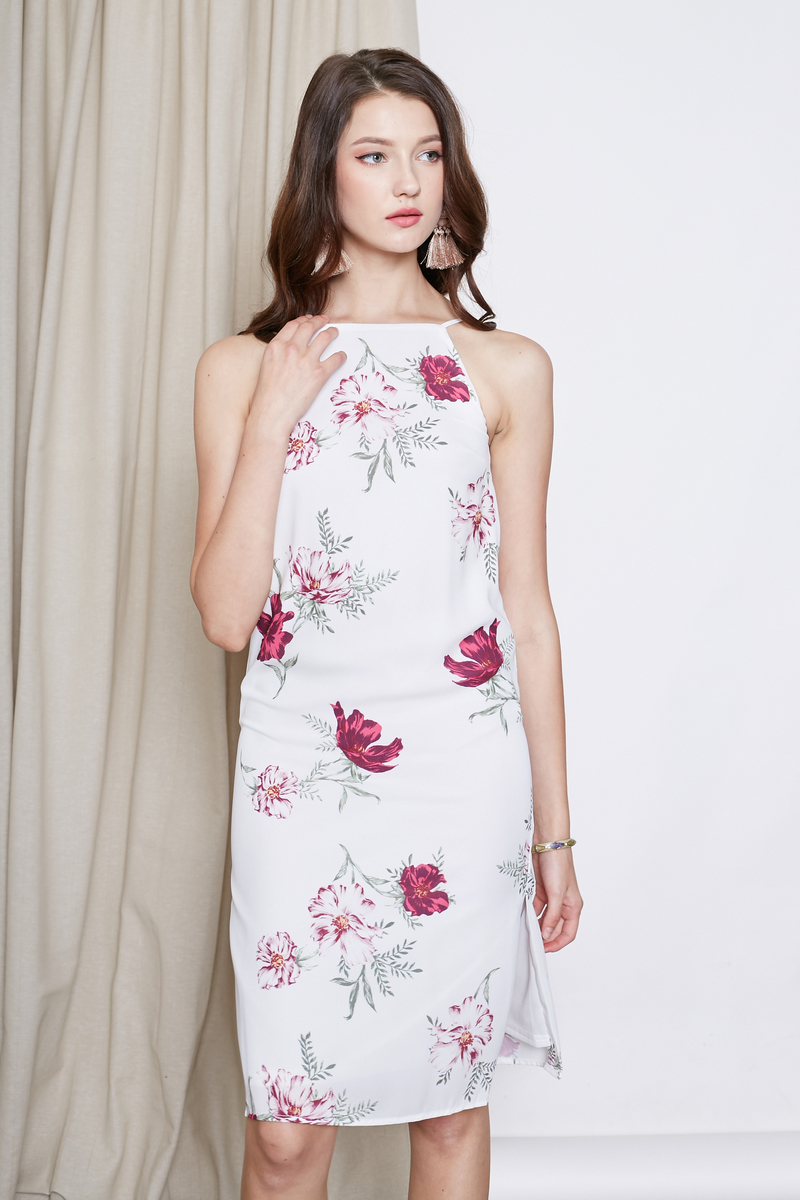 FLORALS SLIT TUNIC DRESS