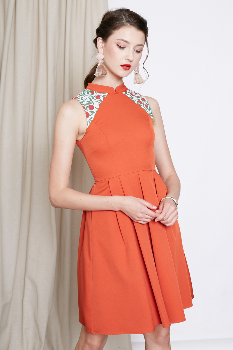 cheongsam flare dress