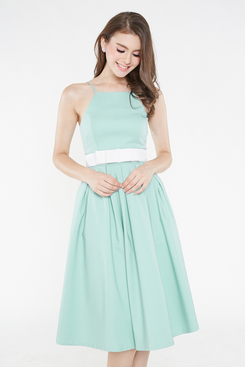 6336221d4f06  INTQ LABEL  LEIA BELTED SPAG FLARE DRESS IN TIFFANY MINT