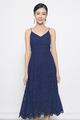 broderie anglaise midi dress in navy