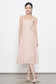 broderie anglaise midi dress in peach