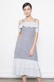 cold shoulder pinstripes midi dress in navy