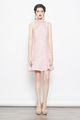 embossed dropwaist cheongsam qipao dress in peach pink