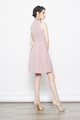 embroidered applique cheongsam dress in pink