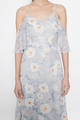 flutter cold shoulder maxi dress in peony florals