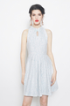 lace cheongsam flare dress in blue