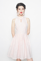 lace cheongsam flare dress in pink