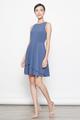 layered hem skater dress in blue