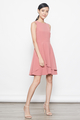 layered hem skater dress in coral