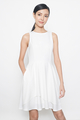 layered hem skater dress in white