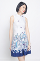 placement prints cheongsam in blue
