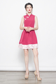 printed cheongsam dress in fuschia pink