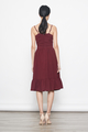 tiered hem midi dress in burgundy