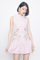 embroidered dropwaist cheongsam in pink