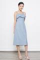 eyelet spag midi dress in blue