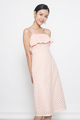 eyelet spag midi dress in peach