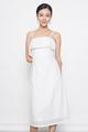 eyelet spag midi dress in white