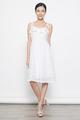 tiestrap ruffles eyelet dress in white