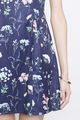 floral block cheongsam in navy