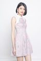 floral block cheongsam in pink