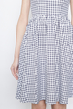 gingham prints belted flare dress in navy