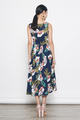 tropical prints button down flare dress in navy