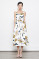 tropical prints button down flare dress in white