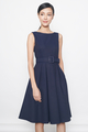 belted flare dress in navy