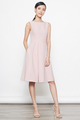 belted flare dress in pink