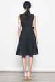 belted flare dress in black
