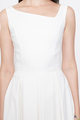 SLANTED NECKLINE FLARE DRESS IN WHITE