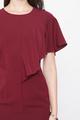 FLUTTERSLEEVE SHIFT DRESS IN BURGUNDY