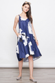 RURI PRINTED DROPWAIST DIP HEM DRESS IN NAVY