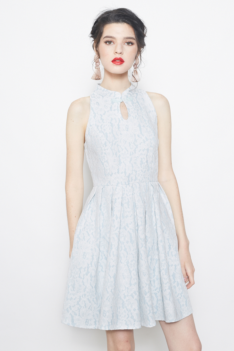 lace cheongsam flare dress in blue