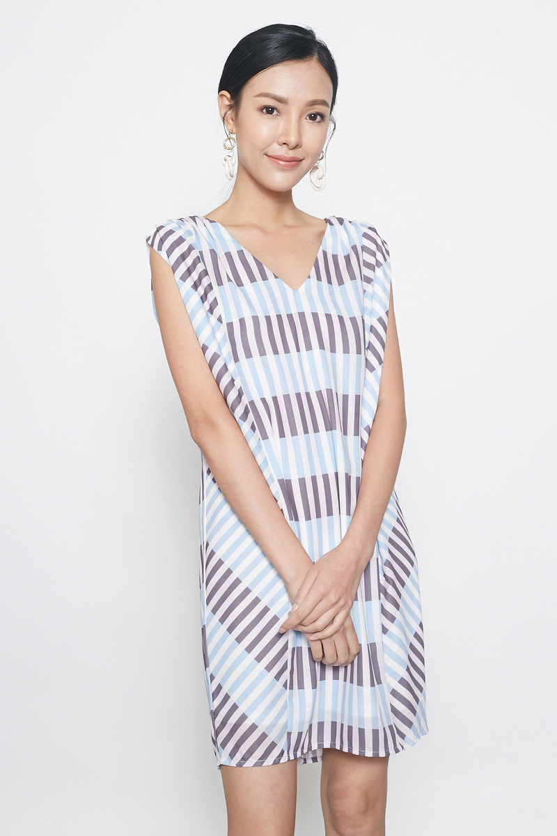stripes kaftan tunic in blue grey