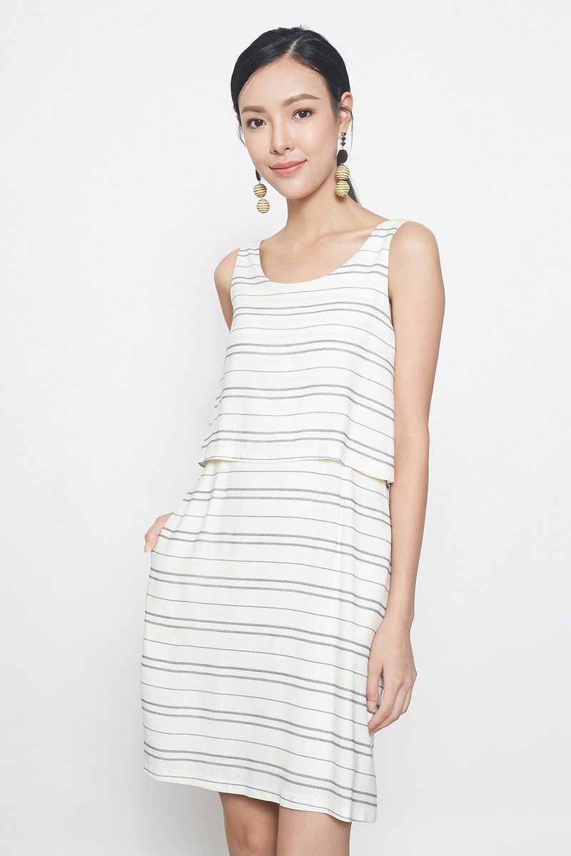 stripes tunic dress in cream