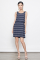 stripes tunic dress in navy