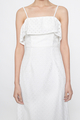 eyelet spag midi dress in white