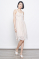 lace eyelet midi dress in pink