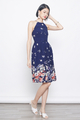 placement eyelet floral dress in navy