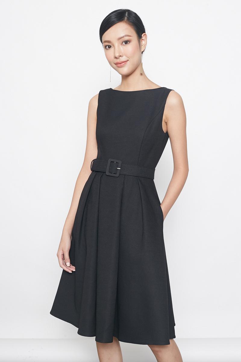 belted flare dress in black