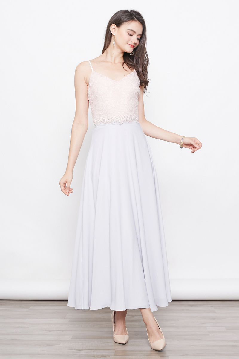 lace bridesmaid maxi dress in grey
