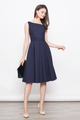 ALICE SLANTED NECKLINE FLARE DRESS IN NAVY