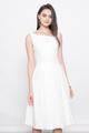 SLANTED NECKLINE FLARE DRESS IN WHITE